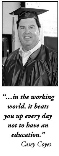 "A male student in a cap and gown with his testimonial. ""... in the working world, it beats you up every day not to have an education."" Casey Coyes"